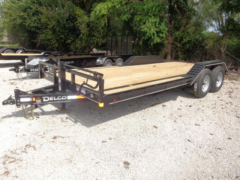 """Delco 102""""x18'+2' Dovetail Bumper Pull 14000# Flatbed Trailer"""