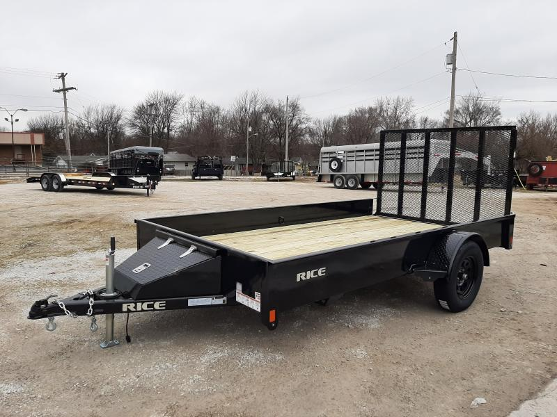Rice 76 x 12' Stealth Bumper Pull Black with Black-out Utility Trailer