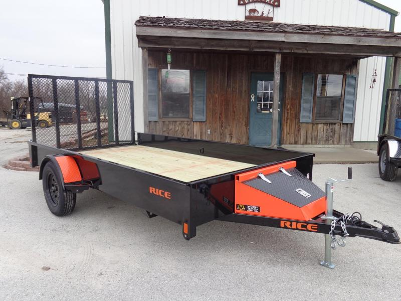 Rice 76 x 12' Bumper Pull Stealth Black with Orange-Out Utility Trailer