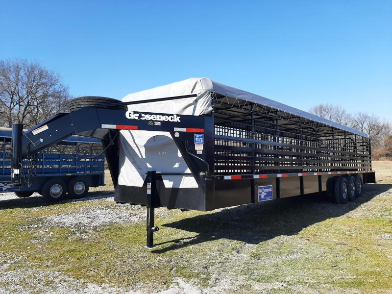 1 OWNER! USED  2019 Gooseneck 36 x 7 Tarp Top Livestock Trailer