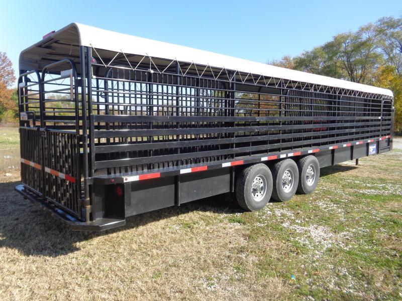 1 OWNER! USED  2019 Gooseneck 36 x 7 Tarp Top Livestock Trailer