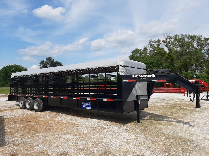 Gooseneck Brand 32' x 6'8 Black with Light Gray Tarp Gooseneck Livestock Trailer