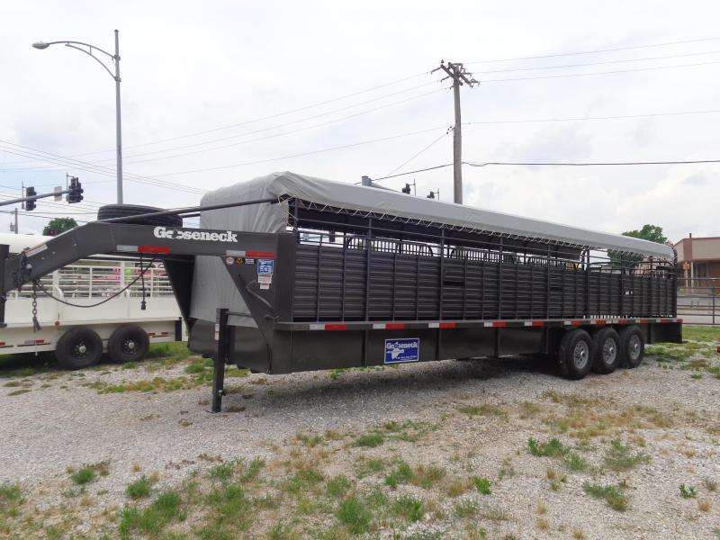 Gooseneck Brand 32' x 6'8 Dark Shadow Gray with Light Gray Tarp Gooseneck Livestock Trailer