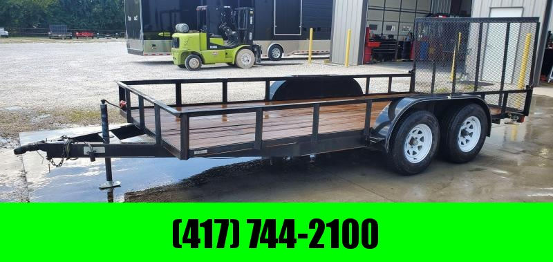 """2004 Double 77X16 TANDEM 7K UTILITY W/4' GATE 5"""" CHANNEL TONGUE & NEW TIRES"""