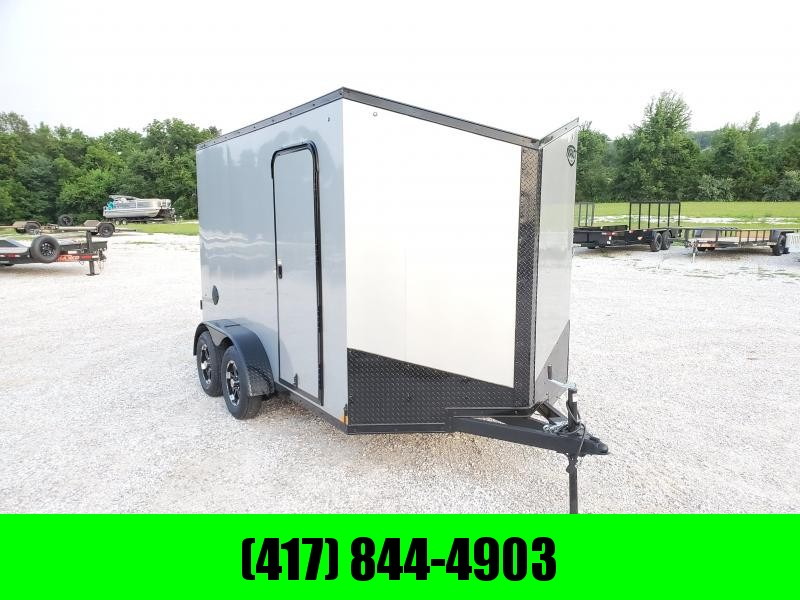 2021 Impact 7X12 TANDEM 7K SILVER BLACKOUT SHOCKWAVE CARGO W/7' HEIGHT & ALUMINUM WHEELS
