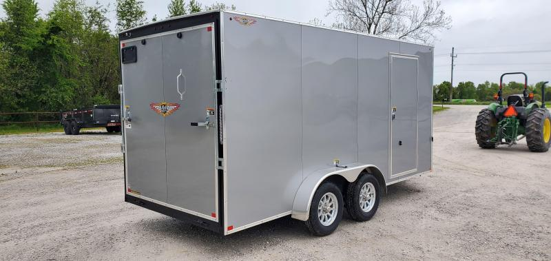 2020 H and H 7X16 TANDEM 7K SILVER CARGO W/7' HEIGHT & ALUMINUM WHEELS