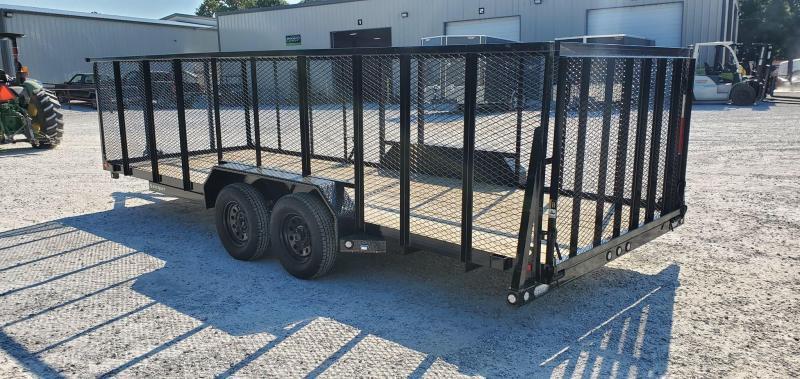 2020 MAXXD 83X20 TANDEM 7K WET BLACK U3X UTILITY W/4'MESH SIDES & 4' SPRING GATE