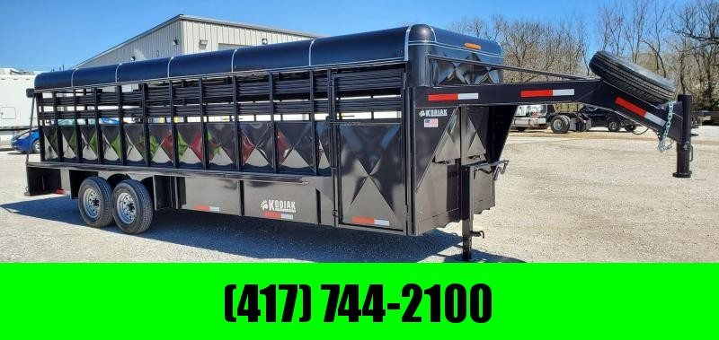 "2020 Kodiak 24X6'8"" BRUSHFENDER GOOSENECK HARD TOP STOCK TRAILER W/7K TORSION AXLES"