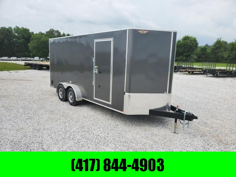 2020 H&H TANDEM 7X18 10K CHARCOAL CARGO W/7' HEIGHT & ALUMINUM WHEELS