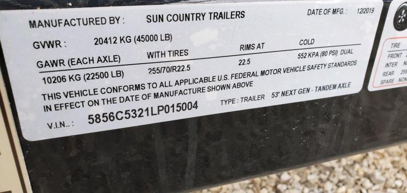 2020 Sun Country 102x53 NEX GEN ANNIVERSARY 5 CAR TANDEM AXLE
