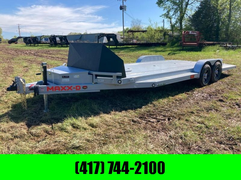 2021 MAXXD 83X22 TANDEM 10K CAR HAULER W/ ROCK SHIELD, TOOLBOX, WINCH PLATE AND IN FLOOR LIGHTS