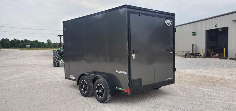 2021 Impact 7X12 TANDEM 7K CHARCOAL BLACKOUT SHOCKWAVE CARGO W/7' HEIGHT & ALUMINUM WHEELS