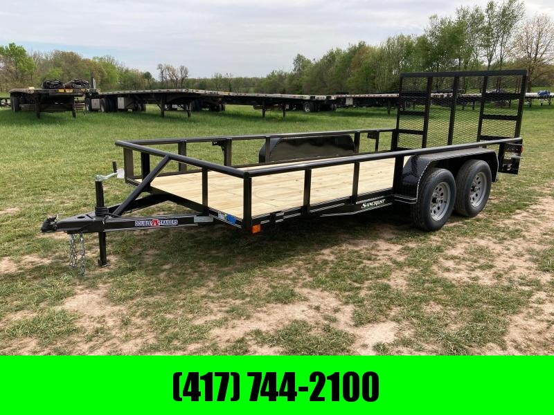 2021 Double A Trailers 77X16 TANDEM 7K UTILITY W/ 4FT SPRING ASSIT GATE