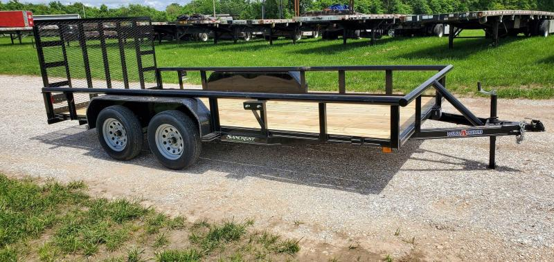 2021 Double A 83X16 TANDEM 7K UTILITY W/PIPE TOP RAILING & 4' SPRING GATE