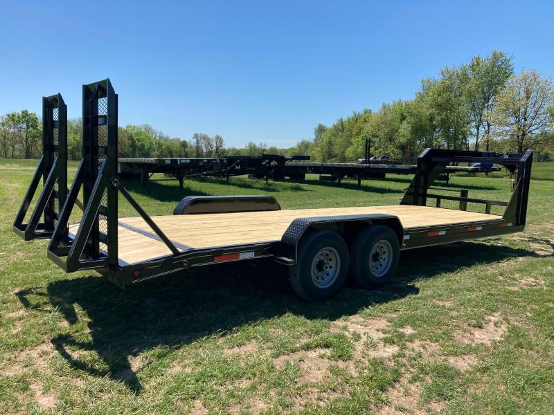 2021 Double A Trailers 83X24 TANDEM 14K GOOSENECK CARHAULER W/ STAND UP RAMPS