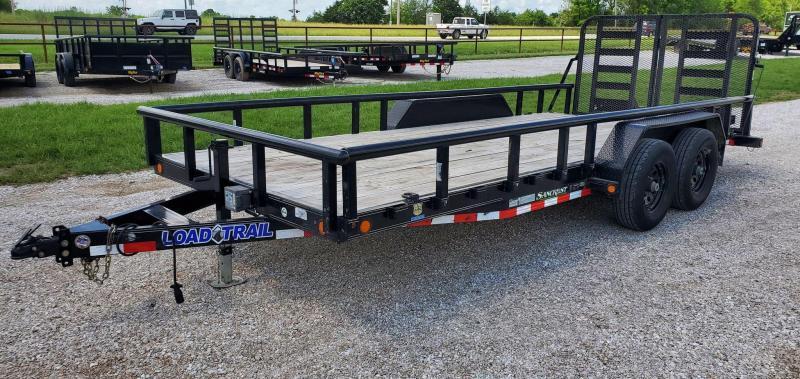 2018 Load Trail 83X18 TANDEM 10K UTILITY W/PIPE TOP RAILING & HD SPLIT-FOLD GATE