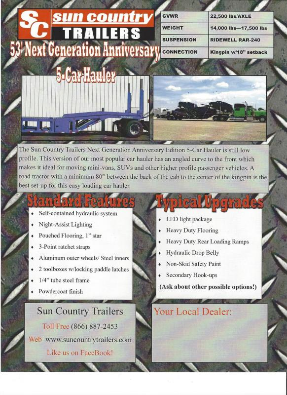 2019 Sun Country NexGen 5 Car Trailer