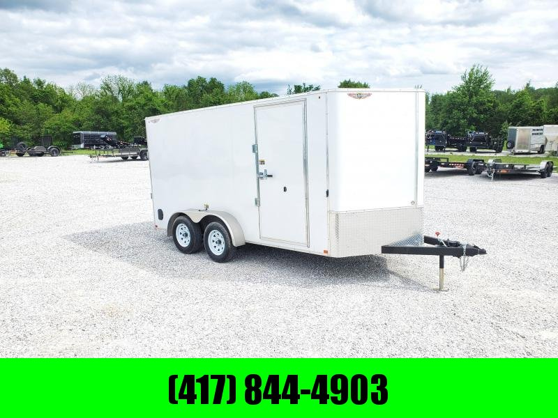 """2020 H and H 7 X 14 TANDEM WHITE CARGO W/6'6"""" HEIGHT"""