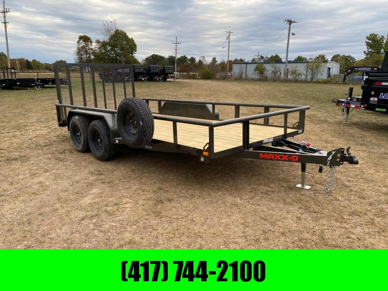 2021 MAXXD 83X16 TANDEM 7K UTILITY W/PIPE TOP RAILING 4' SPRING GATE & SPARE