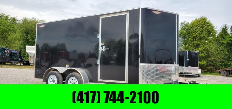 """2020 H and H 7X14 TANDEM 7K BLACK CARGO W/6'6"""" HEIGHT"""