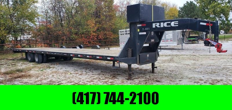 2018 Rice 102X40 LO-PRO GOOSENECK W/12K HYD. DISC AXLES SHOCKER COUPLER 14PLY TIRES & TORQUE TUBE