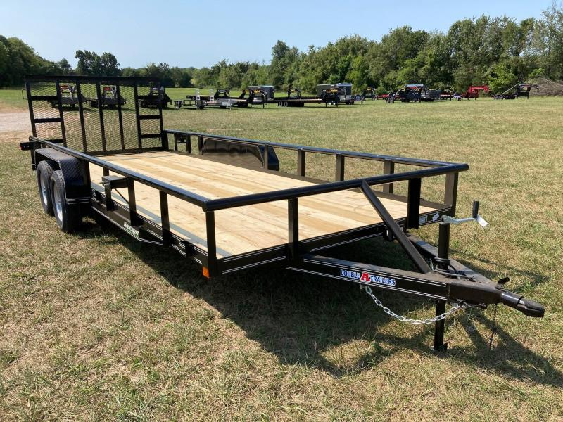 2021 Double A 83X20 TANDEM 7K UTILITY W/ 4FT FOLD GATE AND SINGLE BRAKE AXLE