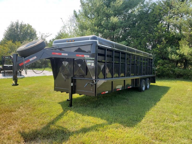 "2019 Kodiak 6'8""X24' METALLIC BLACK Livestock TrailerW/FRONT  VENTS 2 CUT GATES SLIDER REAR GATE"