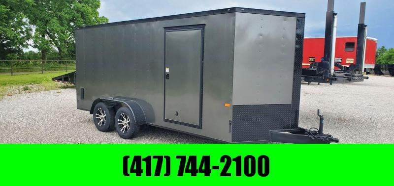 """2020 Rock Solid 7X16 TANDEM 7K BLACK OUT W/ALUMINUM WHEELS & 6'6"""" HEIGHT"""