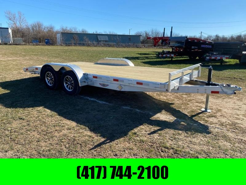 2021 H&H 82X18 TANDEM 7K ALUMINUM CAR HAULER W/SLIDE OUT RAMPS