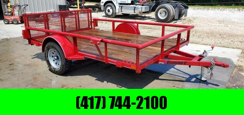 2019 Diamond C 83X10 SINGLE 3.5K RED UTILITY W/PIPE TOP RAILING & BI-FOLD GATE(W/ASSIST)