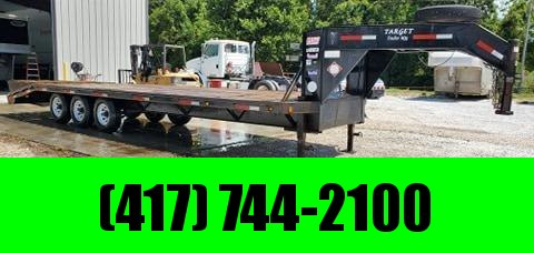 2003 TARGET MFG 102X28 TRIPLE 21K GOOSENECK W/FOLD OVER RAMPS & 14PLY TIRES