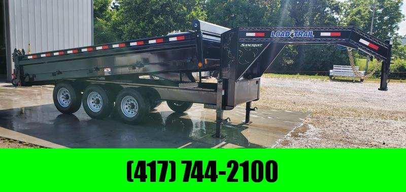 "2019 Load Trail 96X16 TRIPLE 21K BLACK GOOSENECK DUMP W/18"" FOLD DOWN SIDES & 20K HOIST"