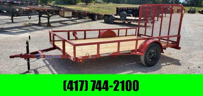2021 LOAD TRAIL 77X12 SINGLE 3.5K RED UTILITY W/TUBE TOP RAILING & 4' TUBE GATE