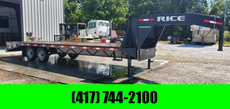 2016 Rice 102X25 TANDEM 14K GOOSENECK W/ FLIP OVER RAMPS & CENTER POP UP
