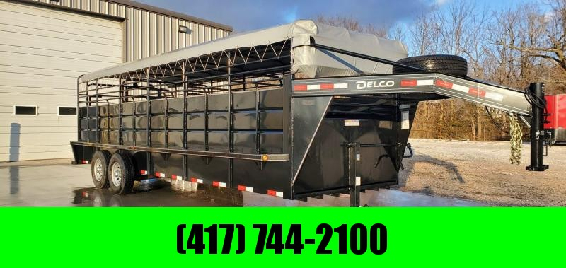 "2019 Delco 6'8""X6'6""X24' TANDEM 14K GOOSENECK TOP TOP STOCK TRAILER W/TORSION AXLES"