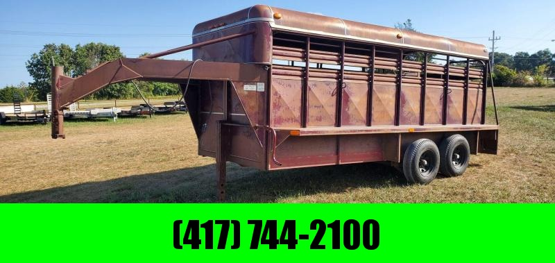 1992 Coose 6'X16' TANDEM GOOSENECK STOCK TRAILER W/5.2K AXLES & BUTTERFLY REAR DOORS