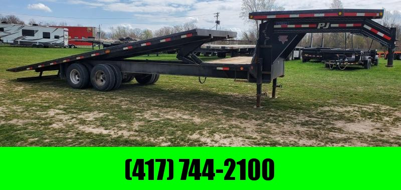 2016 PJ 102X28 TANDEM FULL TILT W/12K AXLES 14PLY 4FT STATIONARY & DECKOVER NECK