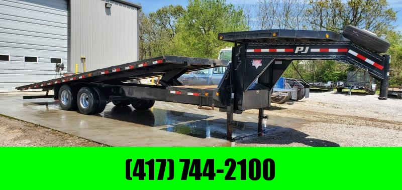 2016 PJ 102x28 TANDEM FULL TILT GOOSENECK W/12K AXLES DECKOVER NECK & 14 PLY TIRES