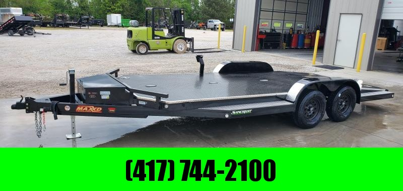 2020 MAXXD 83X18 TANDEM 7K WET BLACK N5X CAR HAULER W/ IN-FLOOR LIGHTS TOOLBOX & SPLIT TAIL
