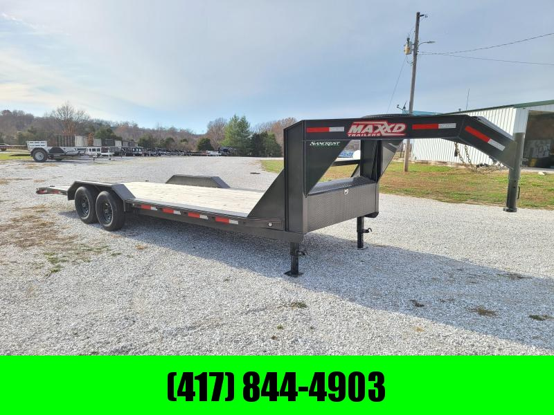 2019 MAXXD 102X24 TANDEM 14K GOOSENECK CAR/EQUIPMENT HAULER W/DRIVE OVER FENDERS & SLIDE IN RAMPS