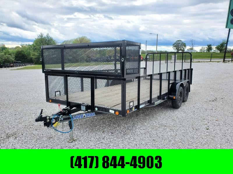 """2020 Load Trail 83X18 TANDEM 7K UTILITY W/24"""" MESH SIDES WEEDEATER RACK FRONT TOOL CAGE & 4' SPRING GATE"""