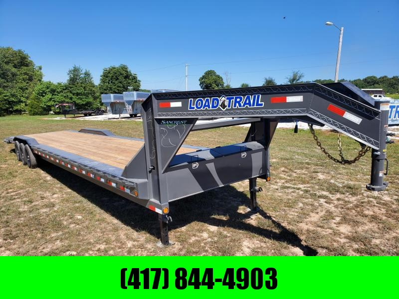 2021 Load Trail 102X40 TRIPLE 21K GRAY GOOSENECK CAR HAULER W/3' DOVE AND SLIDE OUT RAMPS