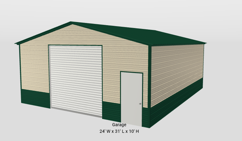 24 x 30 x 10 Vertical Roof Garage