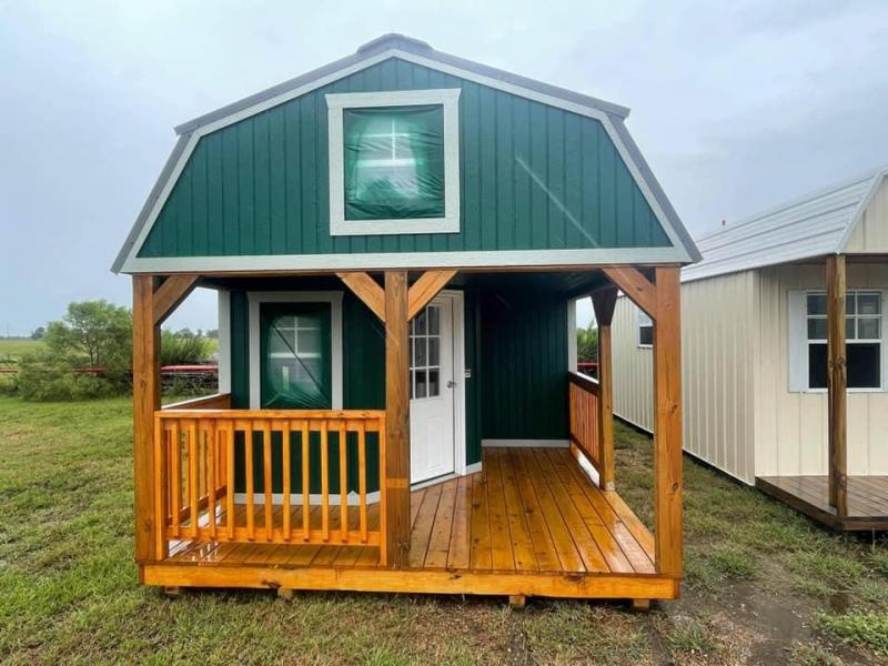 SOLD: 2021 Graceland Portable Buildings 12' x 28' Wrap Around Lofted Cabin Cottage Shed