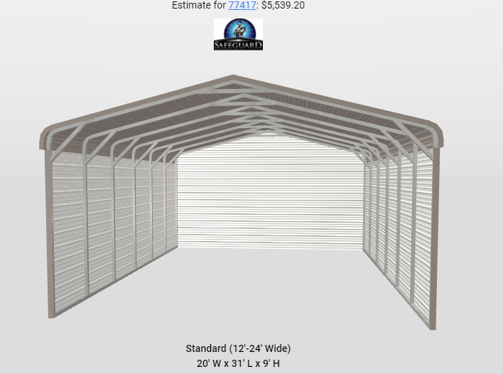 20 x 30 x 9 Metal Carport / Storage