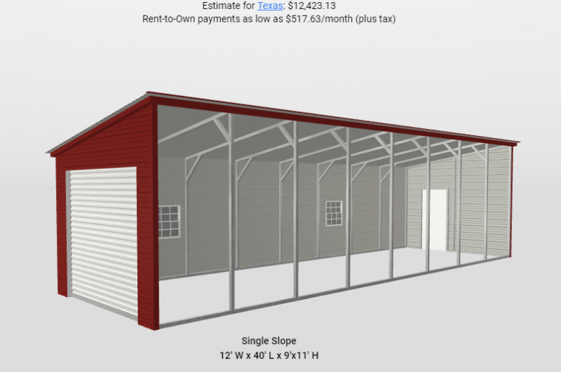 2020 Star 12' x 40' Lean To Addition Metal Building