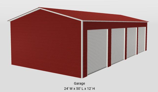 2021 Star 24 x 45 x 12 Side Entry 4 Bay Garage Workshop