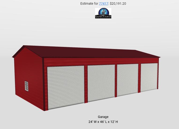 24 x 45 x 12 Side Entry 4 Bay Garage Workshop