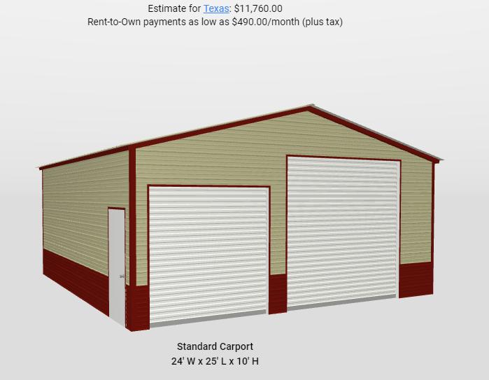 2021 Star 24'x25'x10' Shop Metal Building