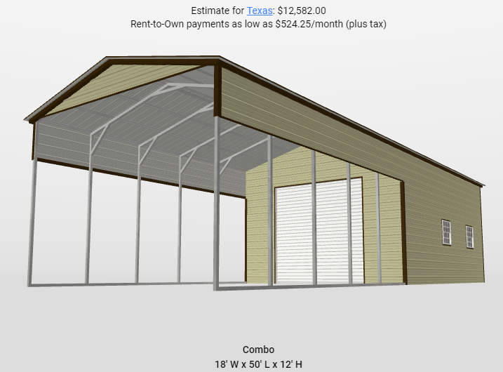 2021 Star 18 x 50 x 12 RV Combo Garage/Carport